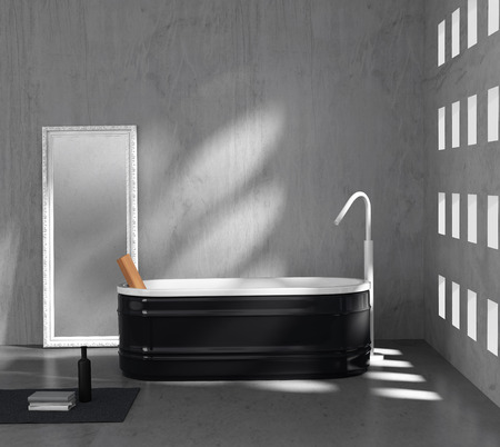 bathroom tile: Contemporary minimal grey concrete bathroom with black bathtub Stock Photo