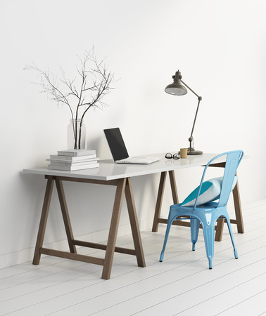 Elegant minimal white home office with blue chair