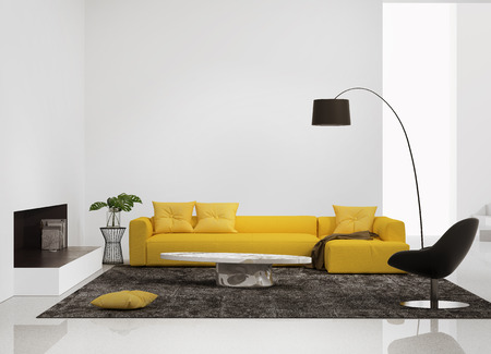 Modern interior with a yellow sofa in the living room and a leather chair Stok Fotoğraf