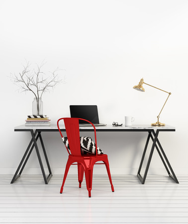Elegant minimal white home office with red chair