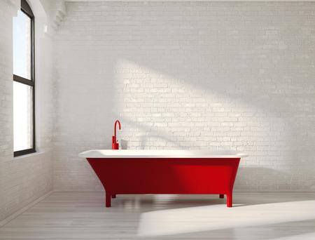Contemporary red bathtub in a white interior