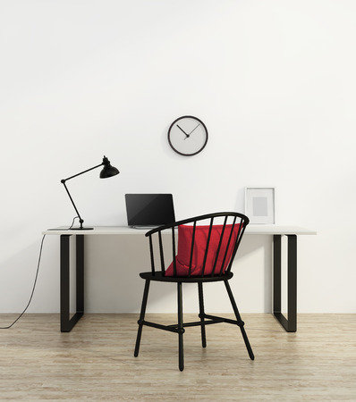Elegant minimal white home office with black chair Standard-Bild
