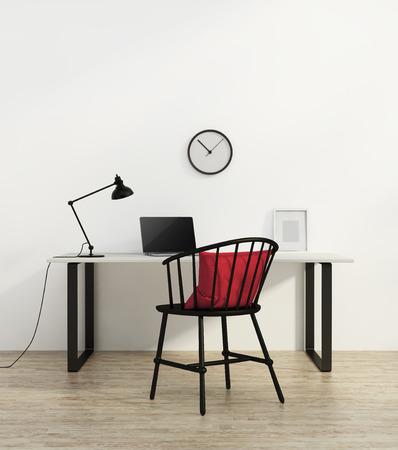 Elegantní minimální bílá domácí kancelář s černým židle