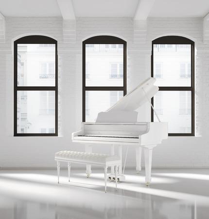 White loft interior with a white piano