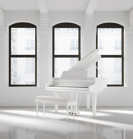 White loft interior with a white piano
