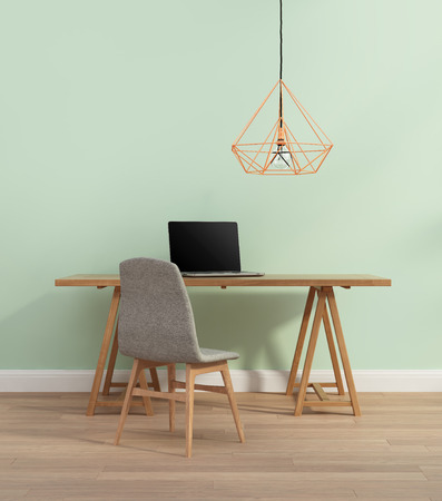 interior wallpaper: Elegant minimal mint color home office with chair Stock Photo
