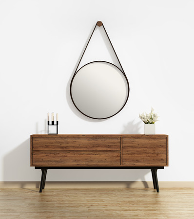 Console table with captain's round mirror 스톡 콘텐츠