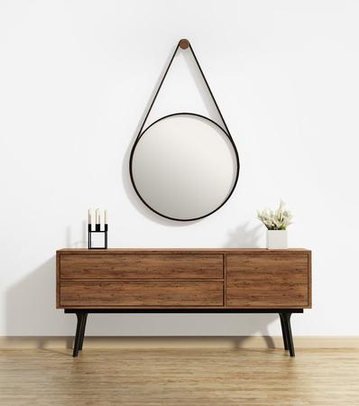 decoracion mesas: Mesa consola con espejo redondo del capitán