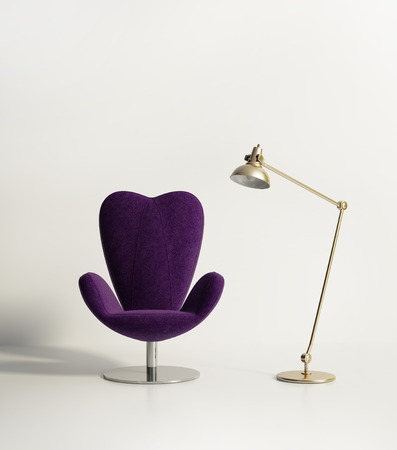 バイオレットのアームチェア、ランプと最小限の空部屋