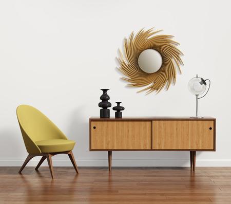肘掛け椅子や鏡があるスカンジナビアのコンソール テーブル