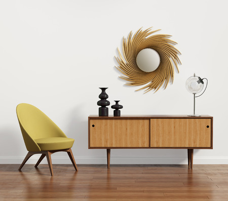 안락 의자와 거울 스칸디나비아 콘솔 테이블 스톡 콘텐츠