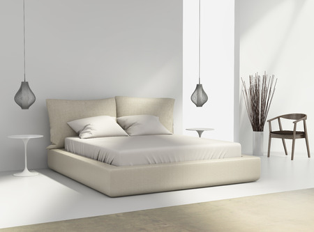 White and beige bedroom with chair and pendant wire lamps Banque d'images