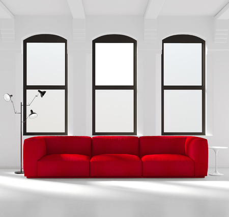 red sofa: White interior with a red sofa