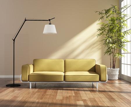 ウィンドウで黄色のソファ付きのリビング ルーム 写真素材
