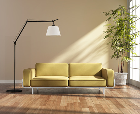 Living room with a yellow sofa by the window