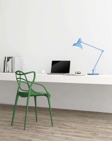 優雅最小的家庭辦公室與綠色的椅子 版權商用圖片