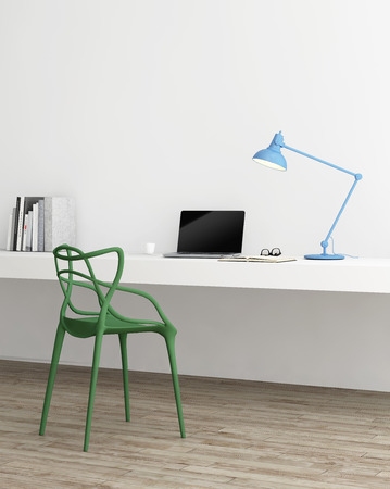 Elegant minimal home office with green chair
