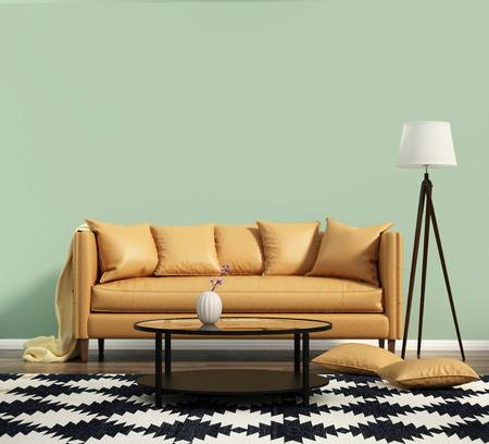 緑の壁と革張りのソファのあるリビング ルーム 写真素材