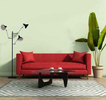 Woonkamer met een rode sofa en een geometrische tapijt