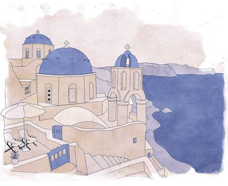 Santorini, the Greek jewel of Aegean Sea Stock Photo
