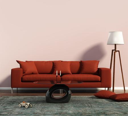 赤いソファと幾何学的なラグ付きのリビング ルーム