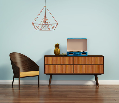 rendering: Blue interior with mid century chair and buffet Stock Photo