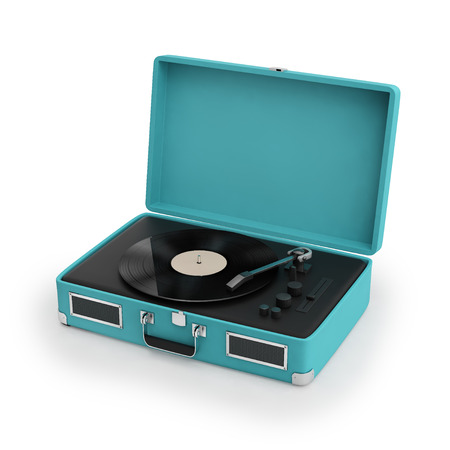 electronic music: Isolated vintage turqoise  turntable Stock Photo