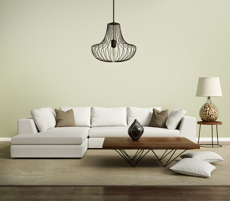 Beige Contemporary Modern Sofa With Lamp Stock Photo   45704726
