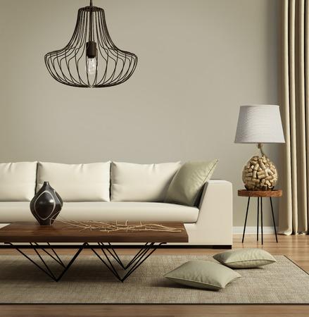 米色現代時尚沙發,綠色靠墊