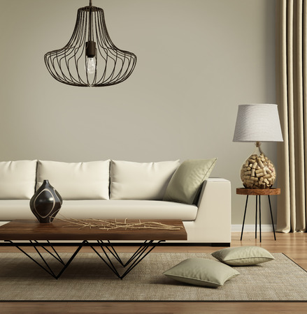 conception: Beige canapé moderne contemporain avec des coussins verts Banque d'images