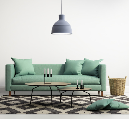 interior room: Green contemporary modern sofa Stock Photo