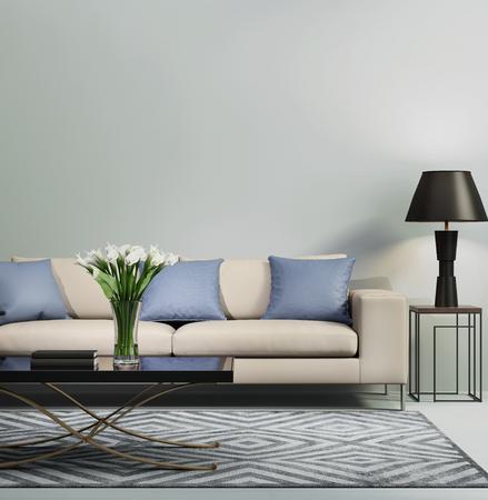 水色の現代的なモダンなソファー 写真素材