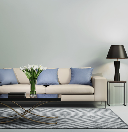 Light blue contemporary modern sofa Standard-Bild