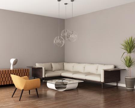 革のソファと灰色のリビング ルーム