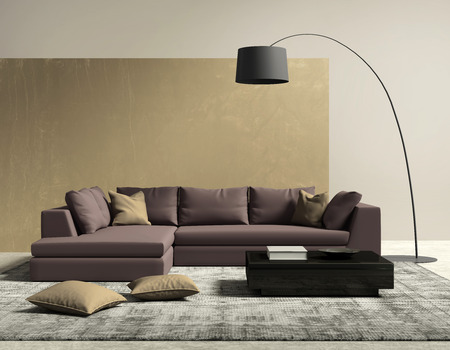 contemporary living room: Purple and gold contemporary modern living room Stock Photo