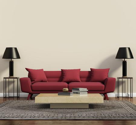 モダンな現代的なリビング ルームの赤いソファ