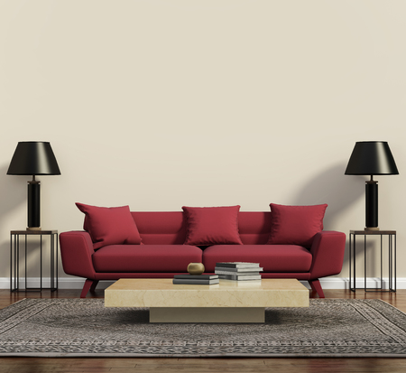 Red sofa in a modern contemporary living room