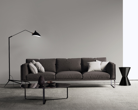 modern sofa: Brown sofa in a modern contemporary living room