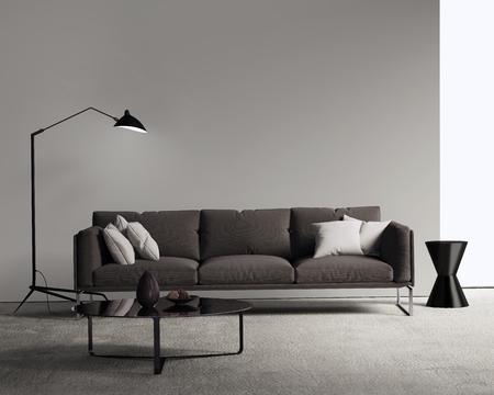 Brown-Sofa in einem modernen Wohnzimmer Standard-Bild