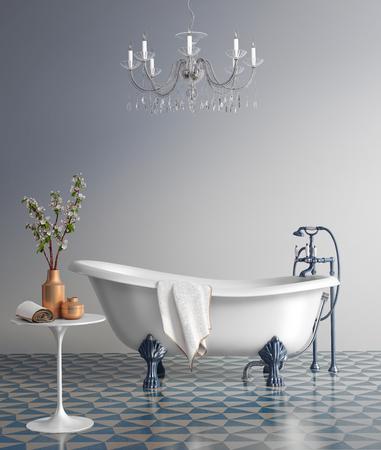 青いバスルーム ビンテージ バスタブ 写真素材