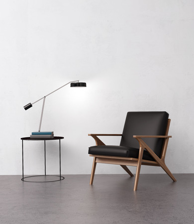 Elegant leather armchair with a side table 스톡 콘텐츠