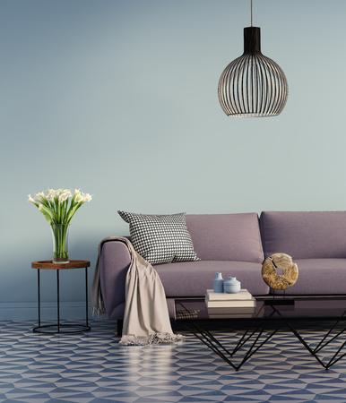 Blauw elegant interieur met paarse bank en bloemen