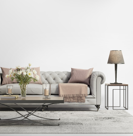Contemporary elegant chic living room with grey tufted sofa