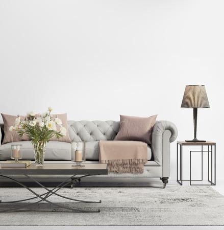 Moderne elegante schicke Wohnzimmer mit grauem Tufting-Sofa