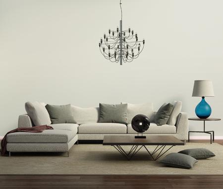 ランプと灰色の現代的なモダンなソファ 写真素材