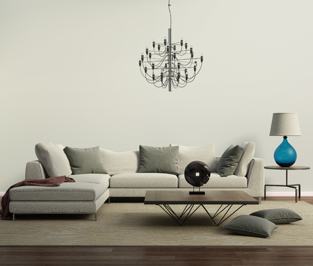 apartment interior: Grey contemporary modern sofa with lamp
