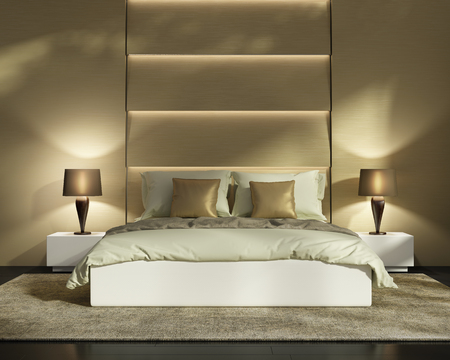 Contemporary elegant gold capitone luxury bedroom