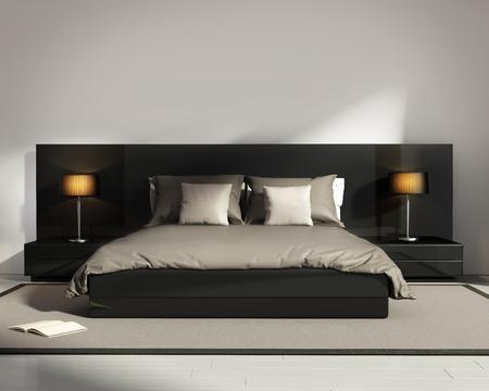 Contemporary elegant luxury black bedroom