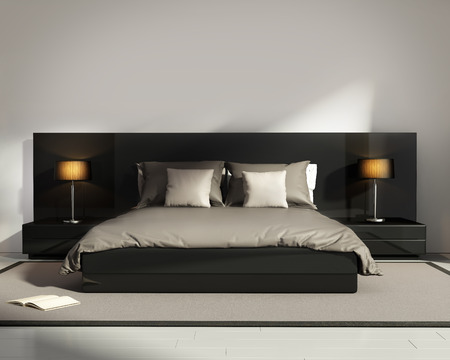 Contemporary elegant luxury black bedroom