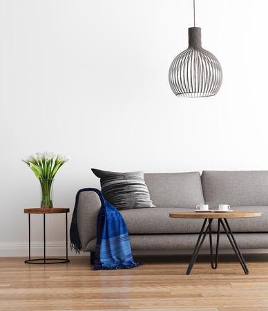 グレーのソファーと現代のモダンなリビング ルーム